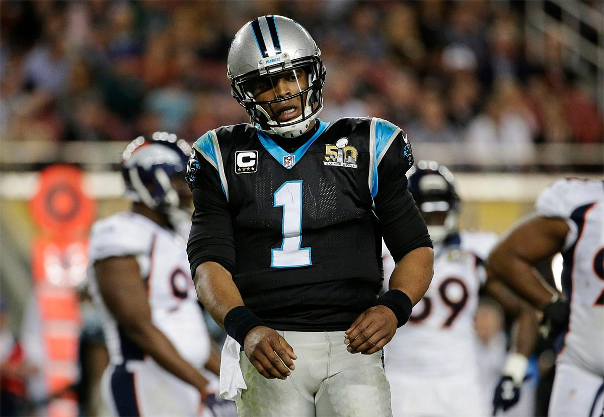 Carolina Panthers' Cam Newton (1) reacts during the second half of the NFL Super Bowl 50 football game against the Denver Broncos, Sunday, Feb. 7, 2016, in Santa Clara, Calif. (AP Photo/Julio Cortez)