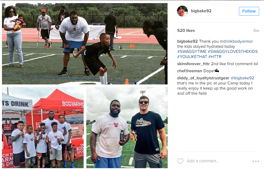 Kids camps are very popular amongst NFL players, and Chris Baker also hosted his own this year. (Image: @bigbake92 Instagram)