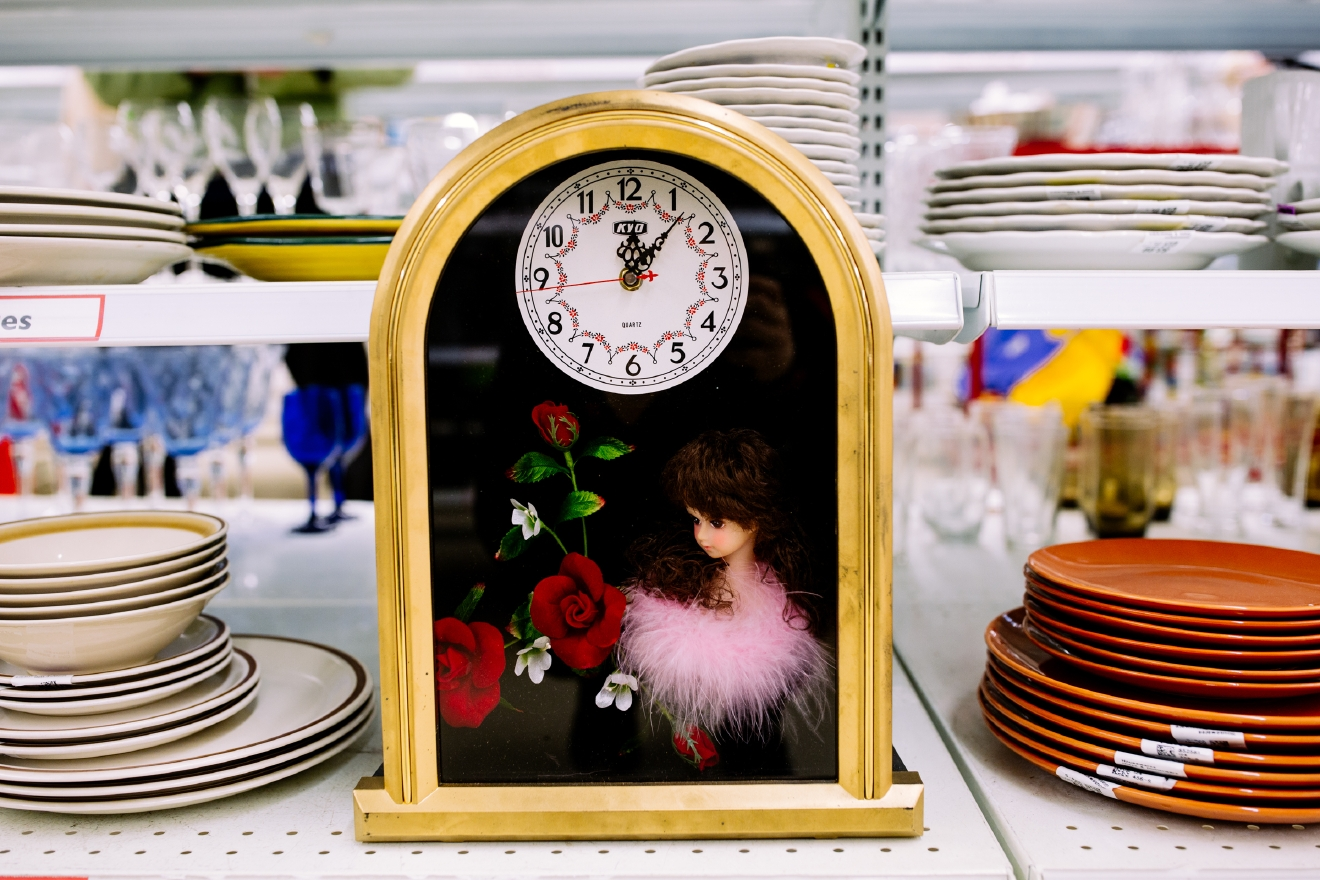 Shadow box doll clock. $6.99  Are you going to a White Elephant Gift Exchange this year? We headed to our local Value Village to give you some gift ideas and how much they cost. (Image: Joshua Lewis / Seattle Refined)
