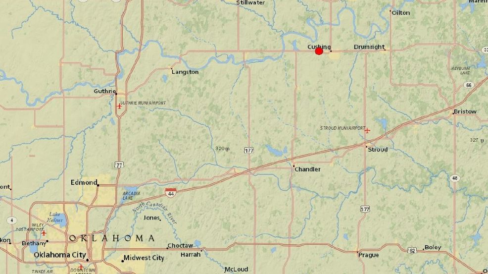 USGS 53 Magnitude Quake Reported 1 Mile West Of Cushing