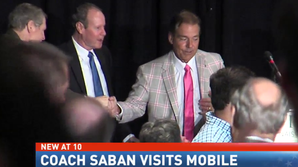 (image: WPMI) Saban in Mobile for Team Focus banquet