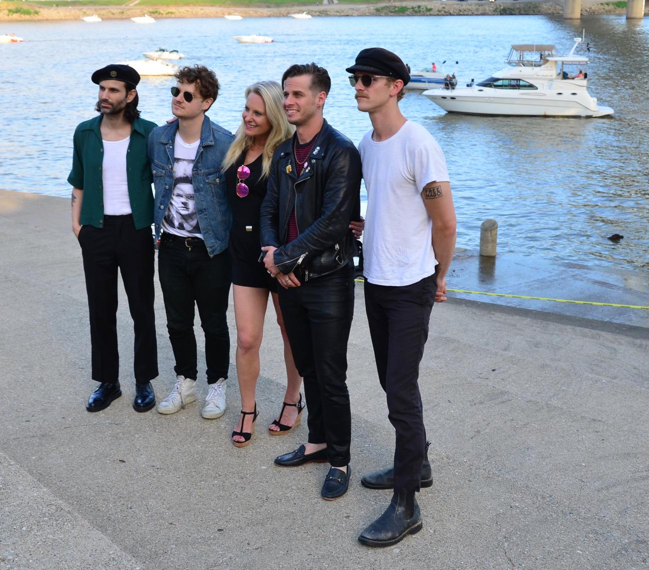 Jamie Humes nabbing a pic with Foster The People before their set on Saturday. / Image: Leah Zipperstein, Cincinnati Refined // Published: 6.4.18