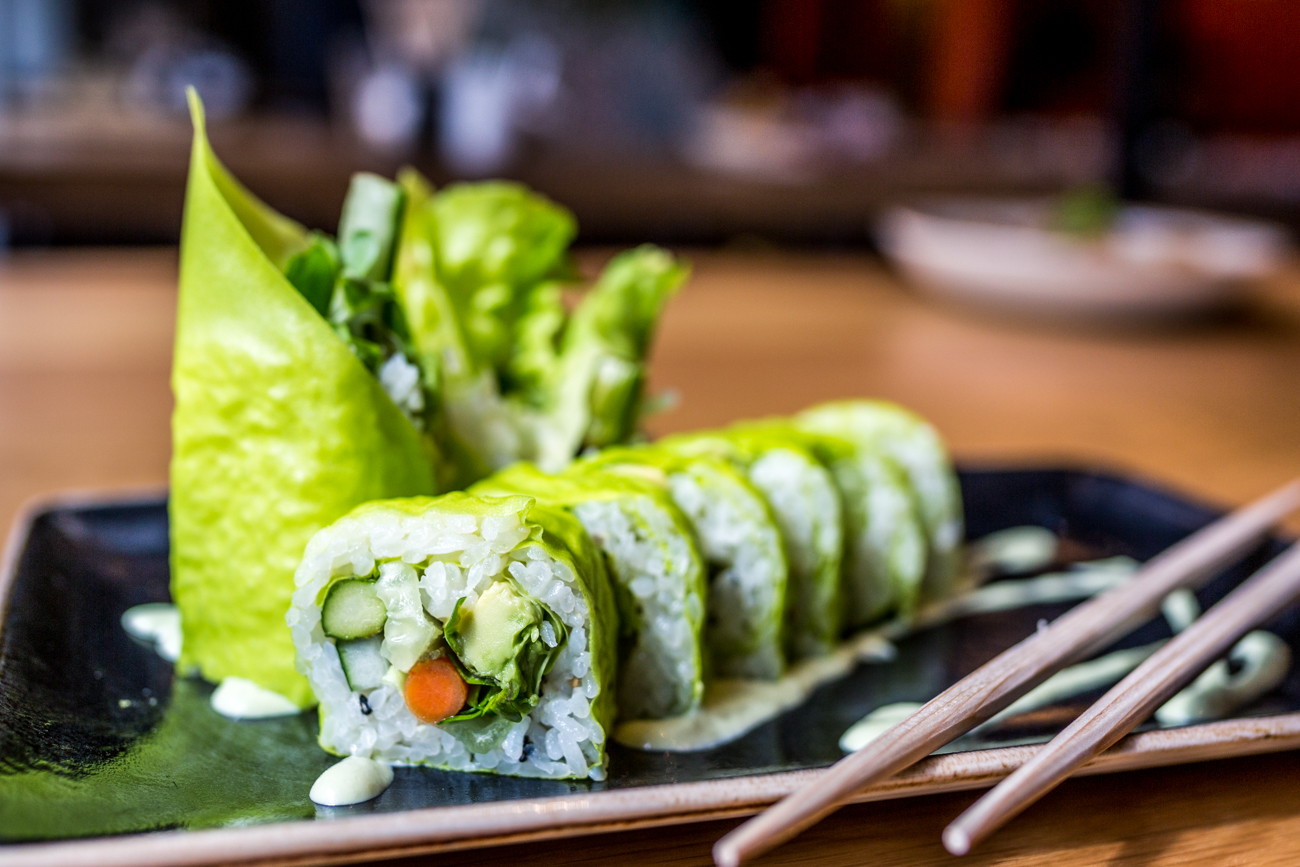 Green Roll (8 piece): soy paper, avocado, bibb lettuce, roasted asparagus, cucumber, radish sprout, Gobo root, and wasabi aioli / Image: Catherine Viox // Published: 9.9.19