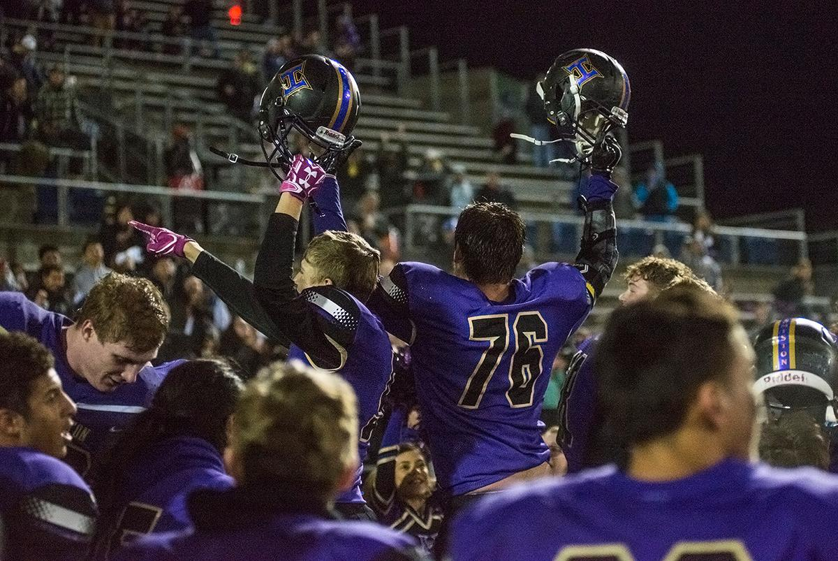 The Hermiston Bulldogs thank their fans after winning the state title.The Hermiston Bulldogs defeated the Churchill Lancers 38-35 for the 5A state title Saturday evening at Hillsboro Stadium. Photo by Abigail Winn, Oregon News Lab