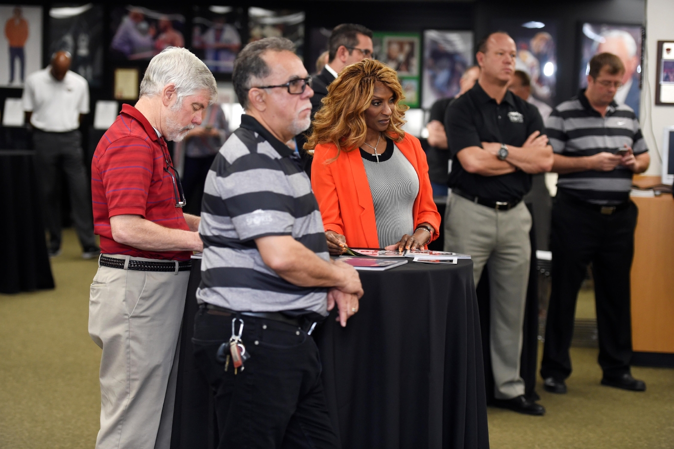 Guests listen to speakers during a news conference to announce the 2017 inductees into the Southern Nevada Sports Hall of Fame Tuesday, March 14, 2017. [Sam Morris/Las Vegas News Bureau]