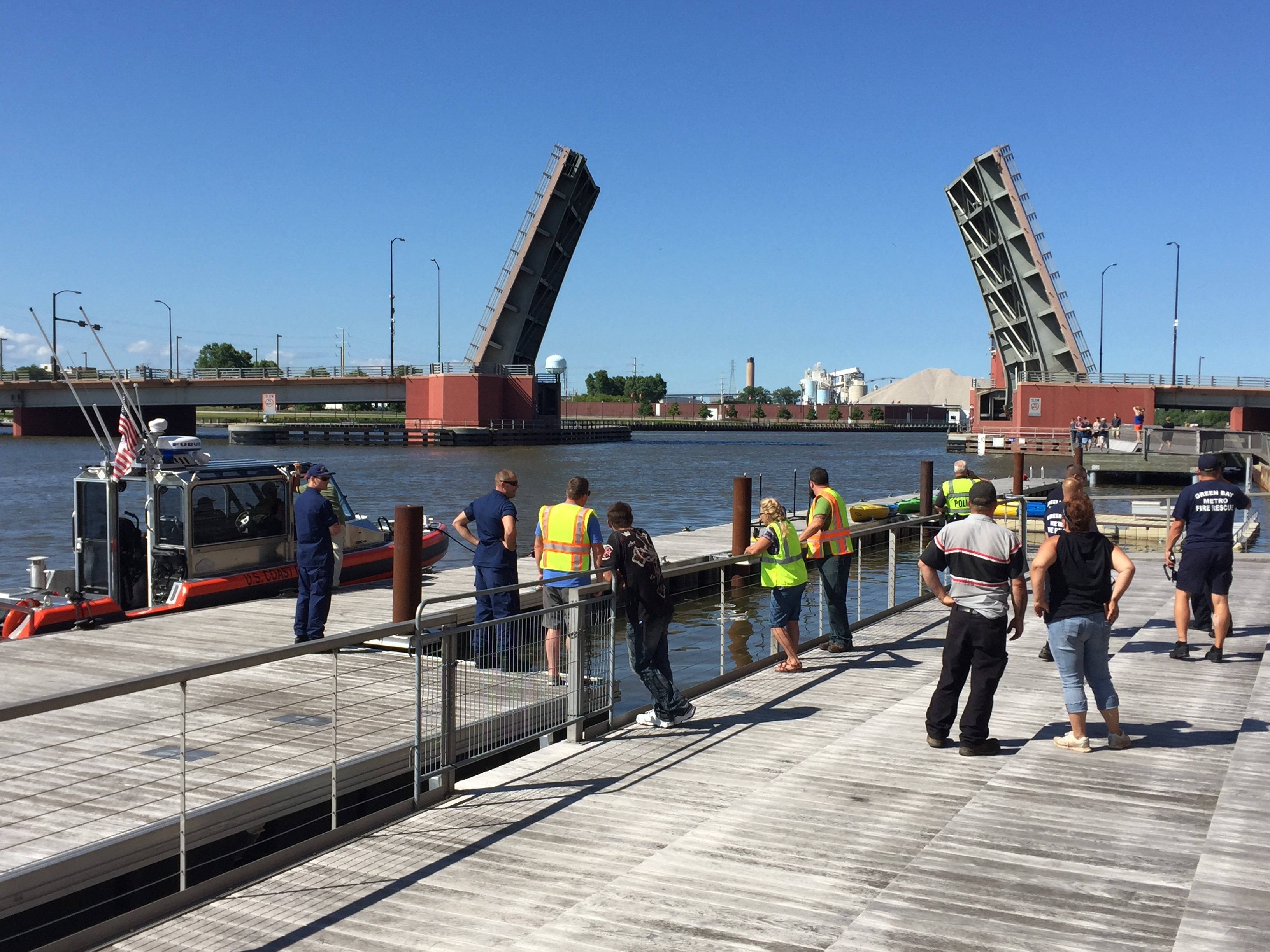 The Ray Nitschke Memorial Bridge is up after an incident Saturday, July 16, 2017. (WLUK/Jessie Basinski)