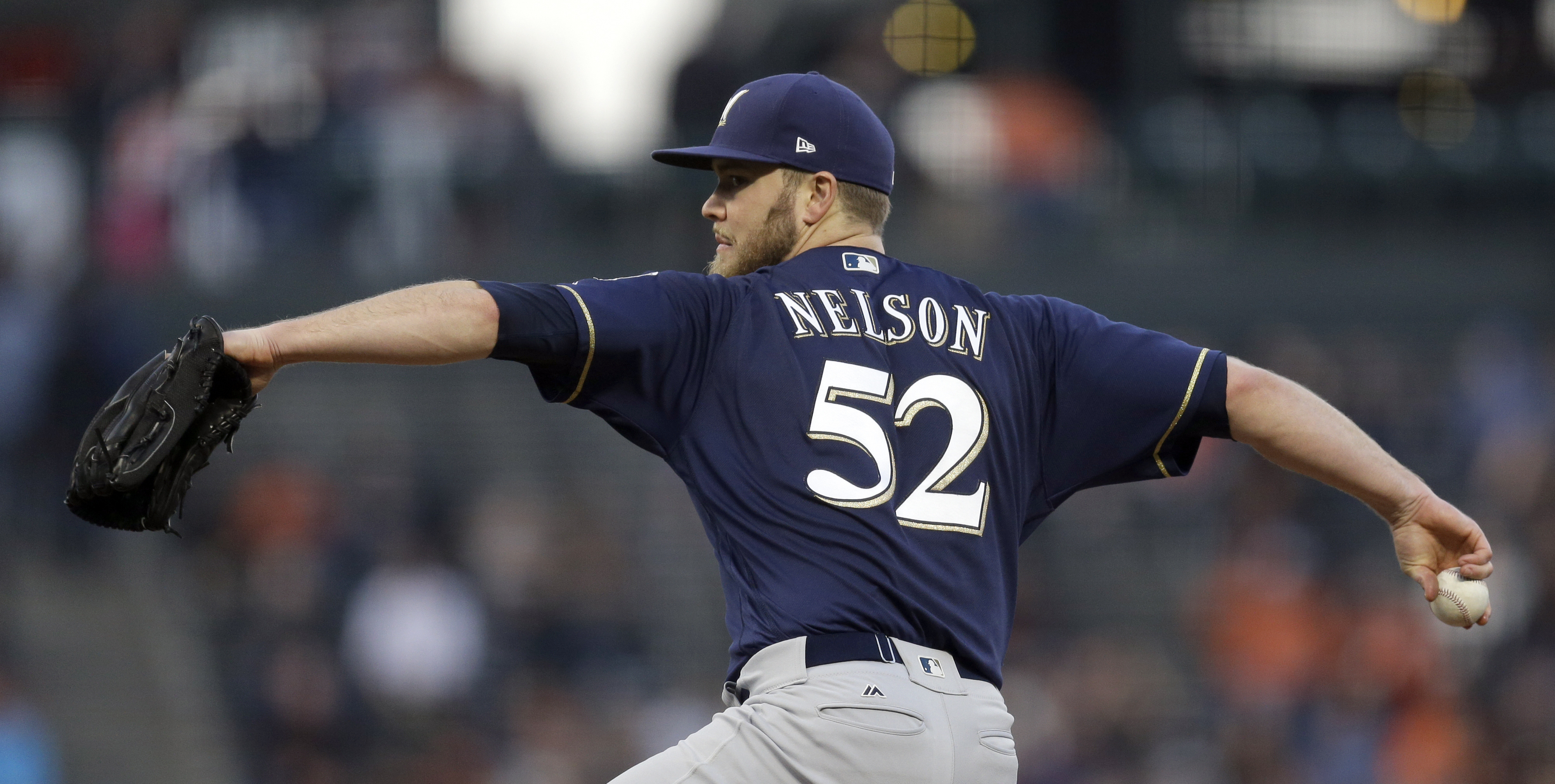 Milwaukee Brewers pitcher Jimmy Nelson works against the San Francisco Giants in the first inning Tuesday, Aug. 22, 2017, in San Francisco. (AP Photo/Ben Margot)