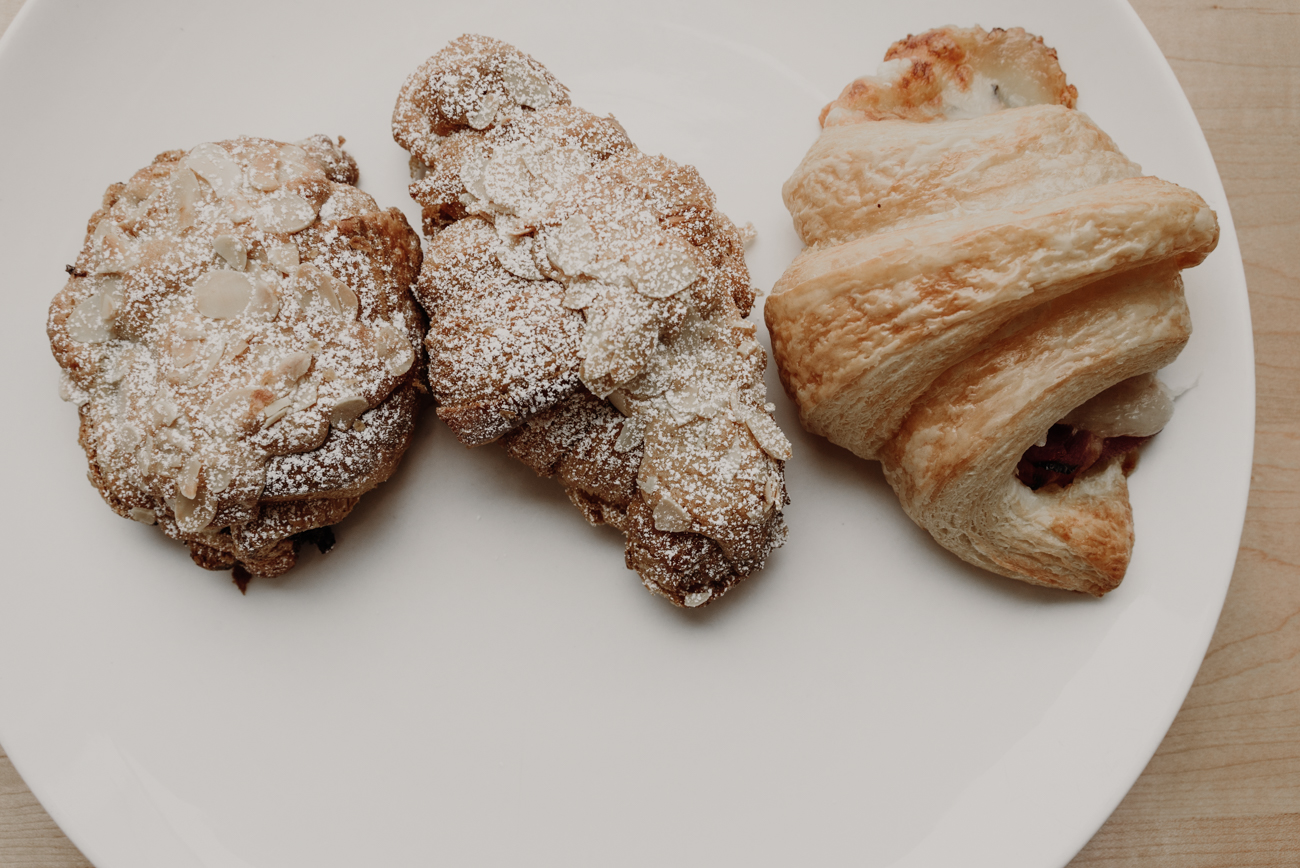 Chocolate and almond croissant, almond croissant, and a ham and cheese croissant / Image: Brianna Long // Published: 9.17.18