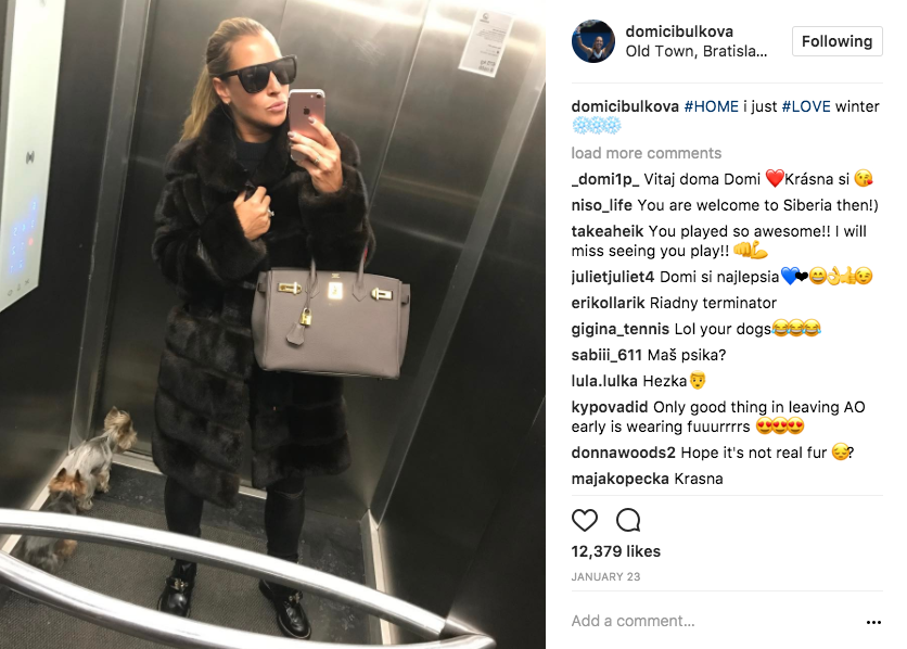 Cibulkova shows off her fashionable winter wear