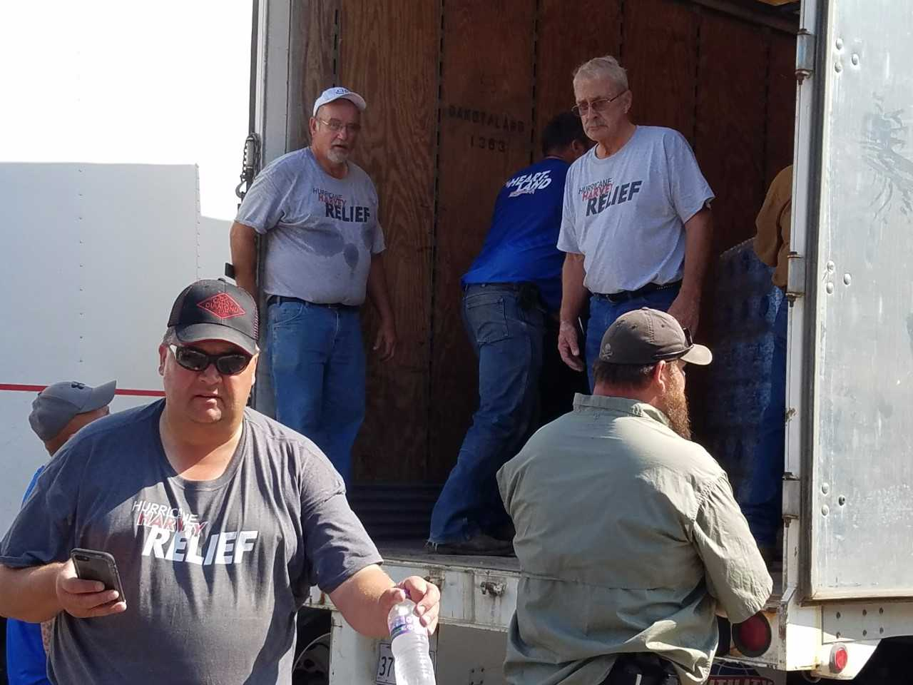 The group unloading items from their truck while in Texas. Photo: Virginia Kipp