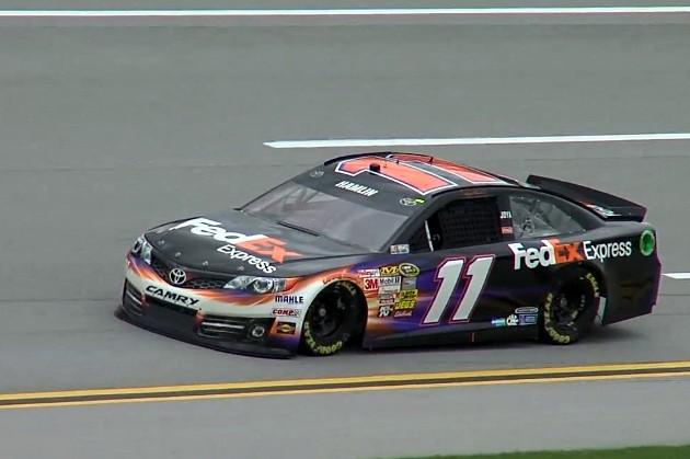 Sprint Cup driver Denny Hamlin during practice at Talladega Superspeedway Friday, May 3, 2013.
