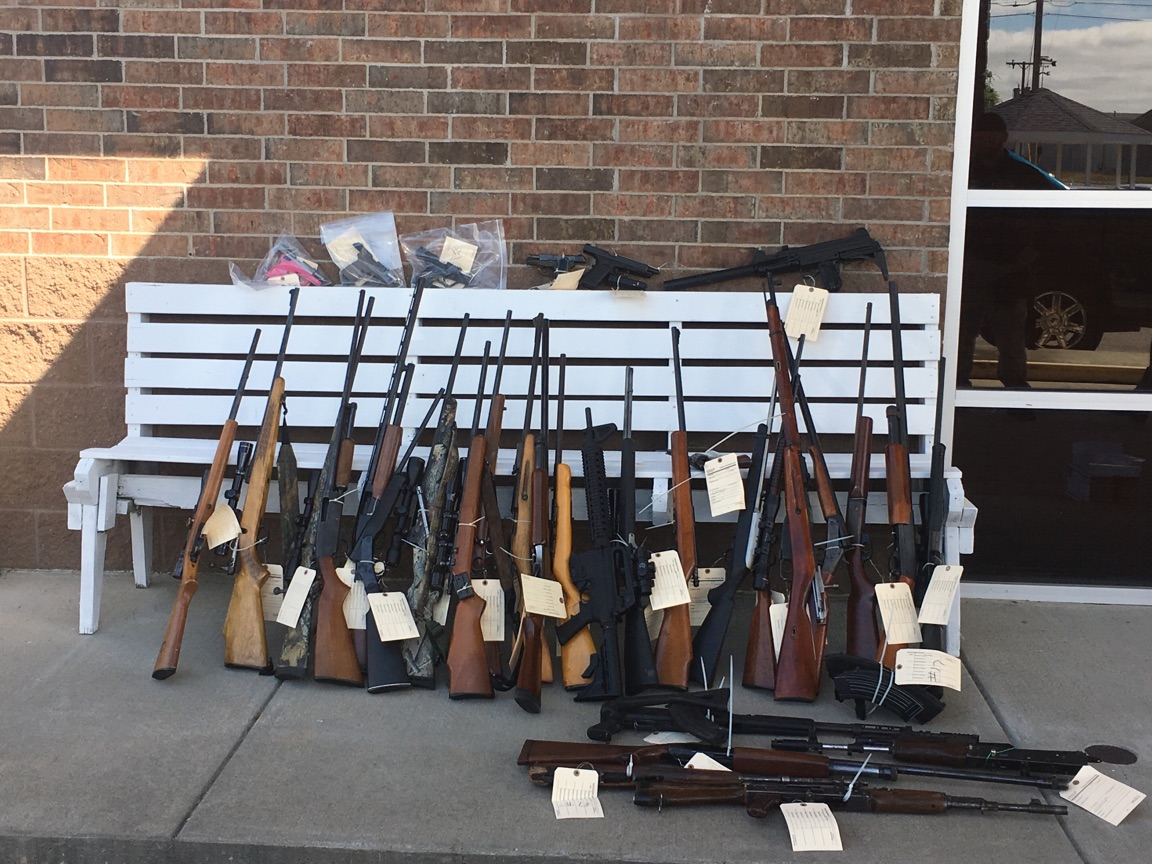 This photo shows the guns seized in the operation in Pope and Yell counties. (KATV Photo)<p></p>