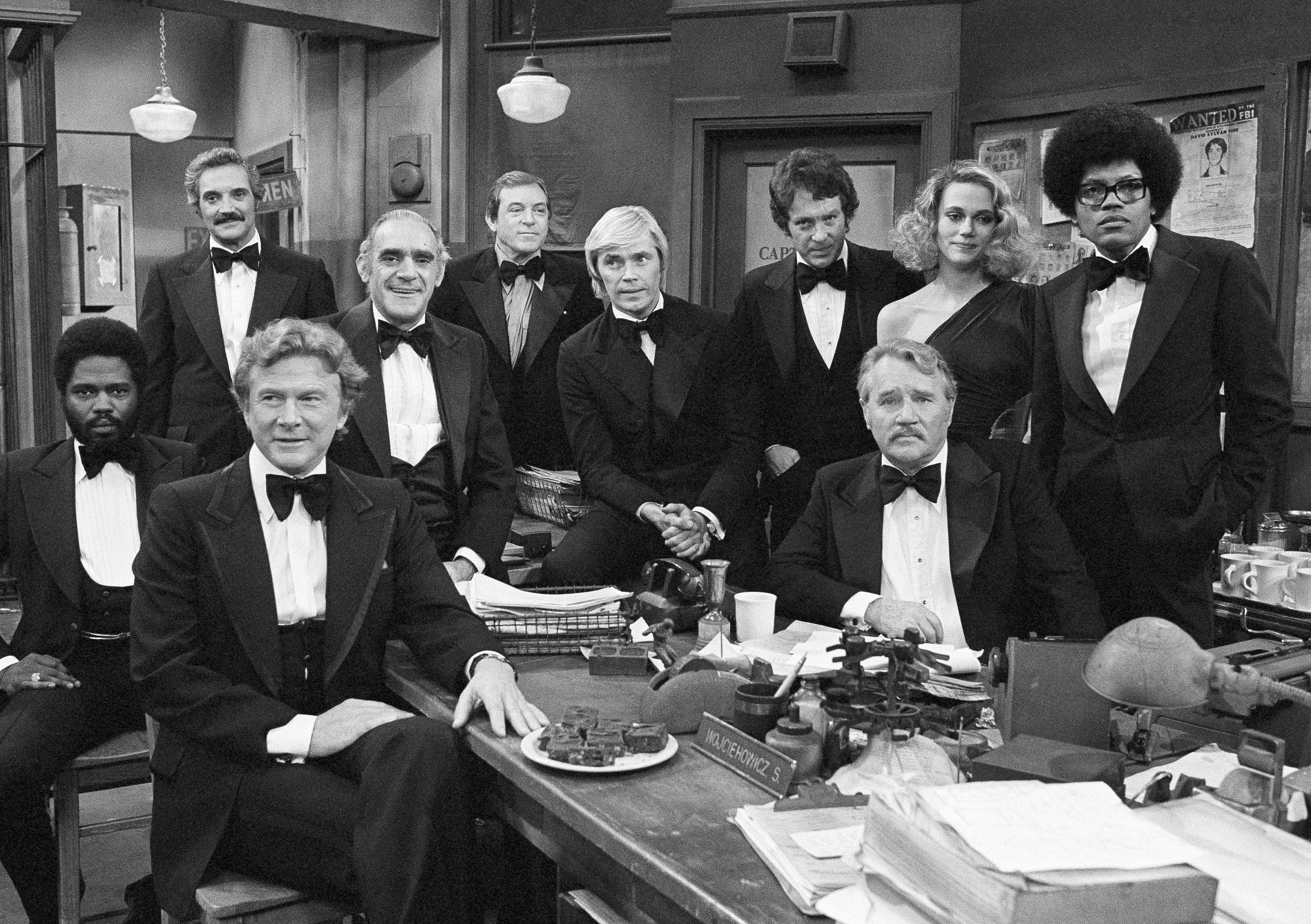 "FILE - In this Jan. 4, 1978 file photo, television star's from ABC's law enforcement theme shows gather on the set for the taping of ABC's Silver Anniversary Celebration in Los Angeles. The actors from left, George Stanford Brown, ""The Rookies""; Hal Linden, ""Barney Miller""; Steve Forrest, ""Swat"" Abe Vigoda, ""Fish""; Paul Burke, ""Naked City""; Dennis Cole, ""Felony Squad""; Michael Cole, Peggy Lipton, Clarence Williams III, ""The Mod Squad"" and Howard Duff, ""Felony Squad."" Lipton, a star of the groundbreaking late 1960s TV show ""The Mod Squad"" and the 1990s show ""Twin Peaks,"" has died of cancer at age 72. Lipton's daughters Rashida and Kidada Jones say in a statement that Lipton died Saturday, May 11, 2019, surrounded by her family. (AP Photo/Wally Fong, File)"