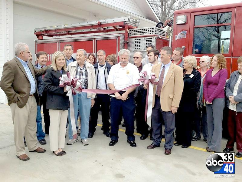 Officials hold a grand opening ceremony at the new fire station in Gardendale, Tuesday, March 18, 2014.