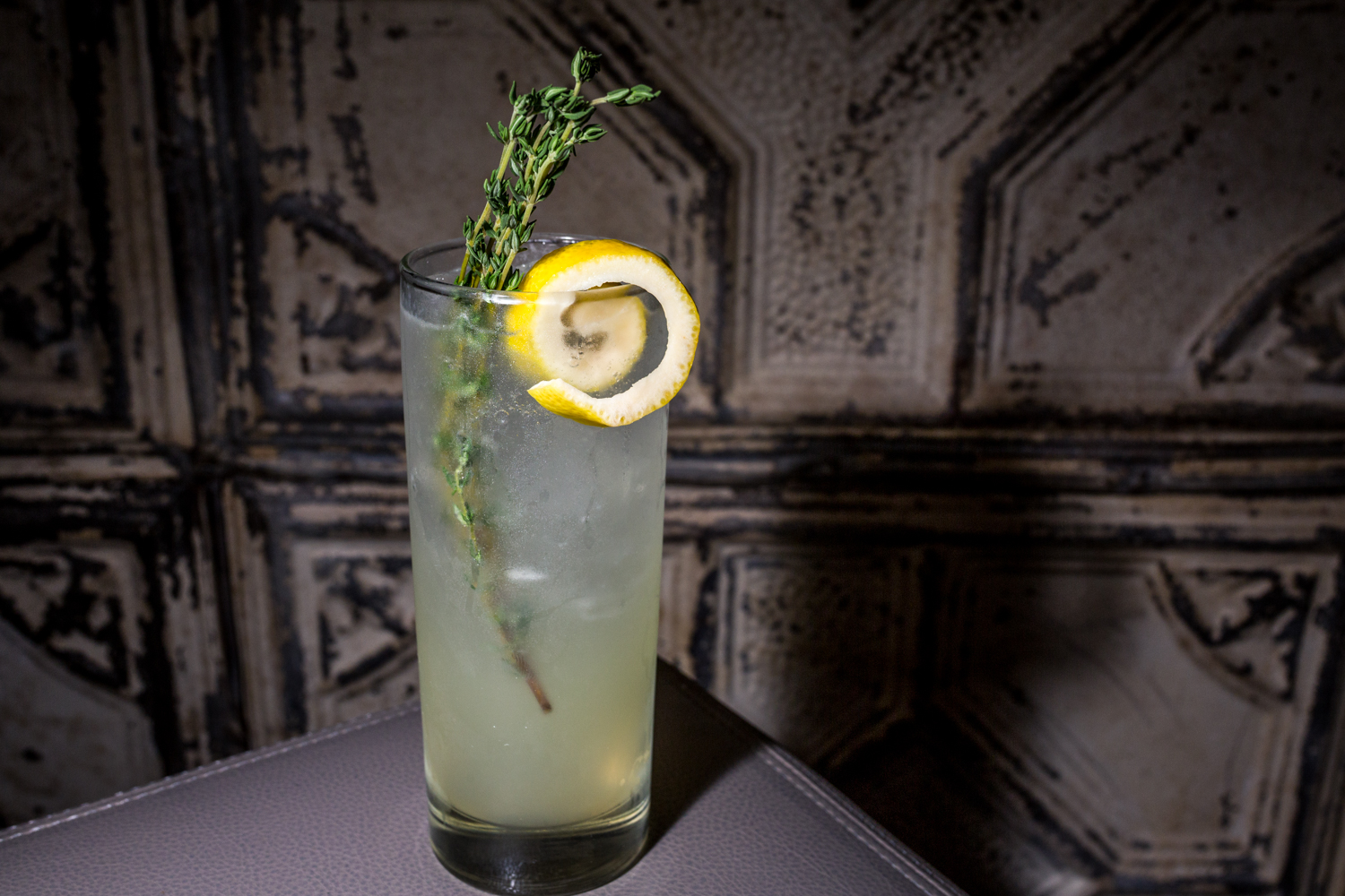 Lemon-Thyme Fizz: Bluecoat Gin, lemon-thyme syrup, and soda / Image: Catherine Viox{ }// Published: 9.30.19