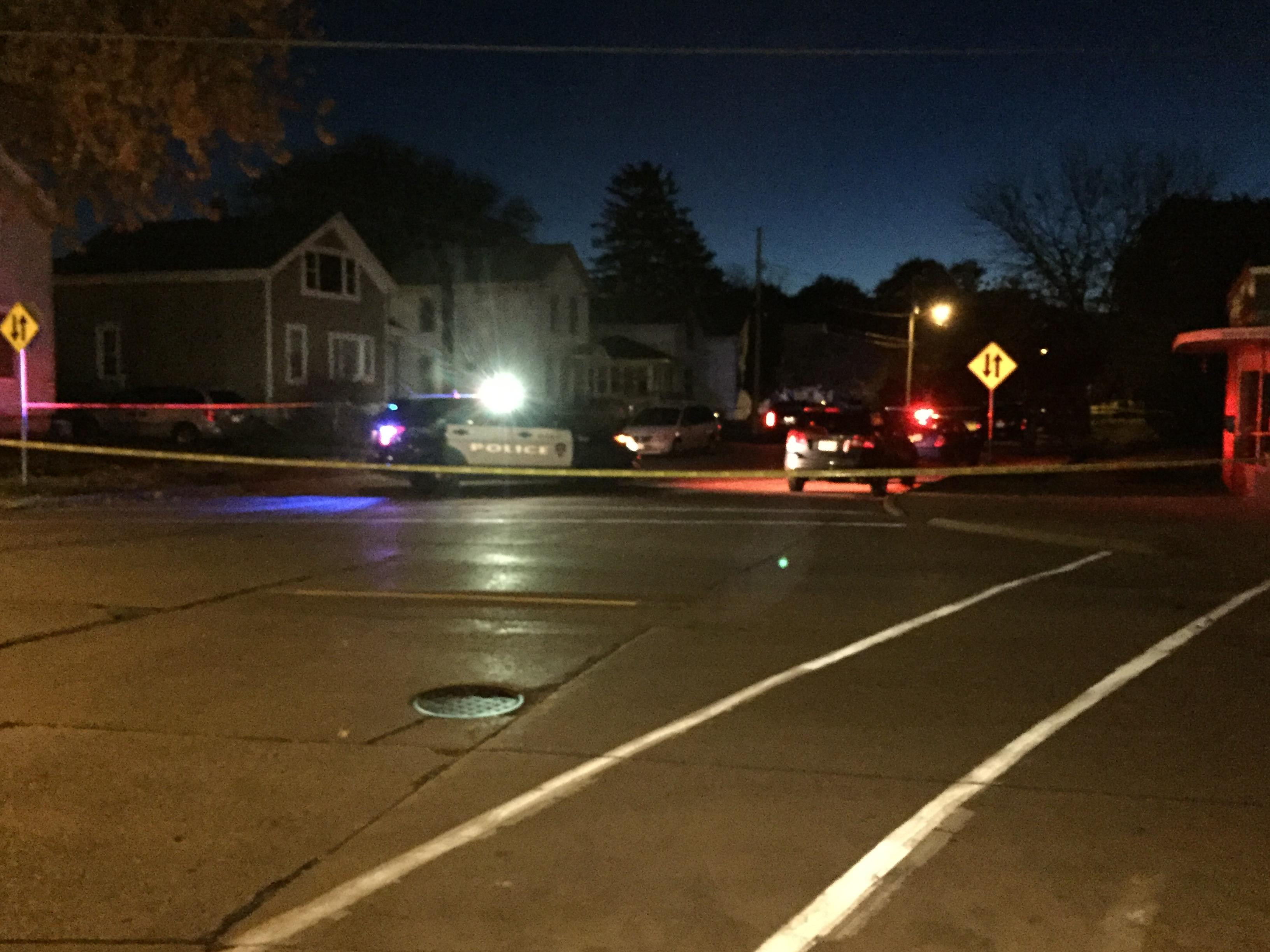 Oshkosh police cordon an area of Waugoo Avenue as they investigate the shootings of two people.  November 6, 2017 (WLUK/Jerry Van Handel<p></p>