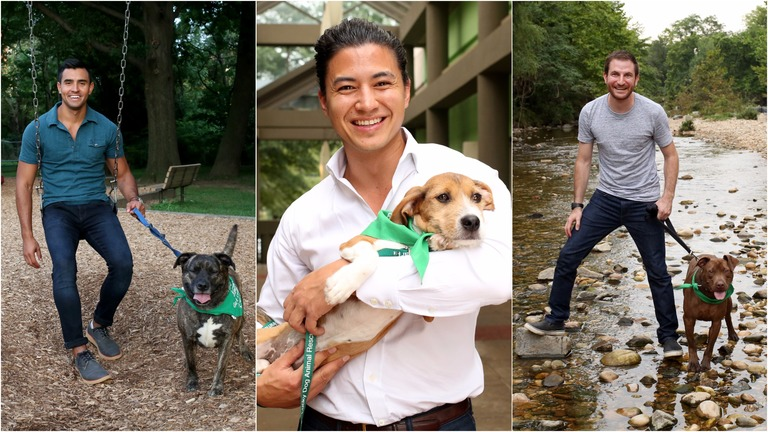 All dogs featured in the photo gallery are available for adoption through Lucky Dog Animal Rescue (http://www.luckydoganimalrescue.org) and all the men featured are single (you're welcome).  (Amanda Andrade-Rhoades/DC Refined)