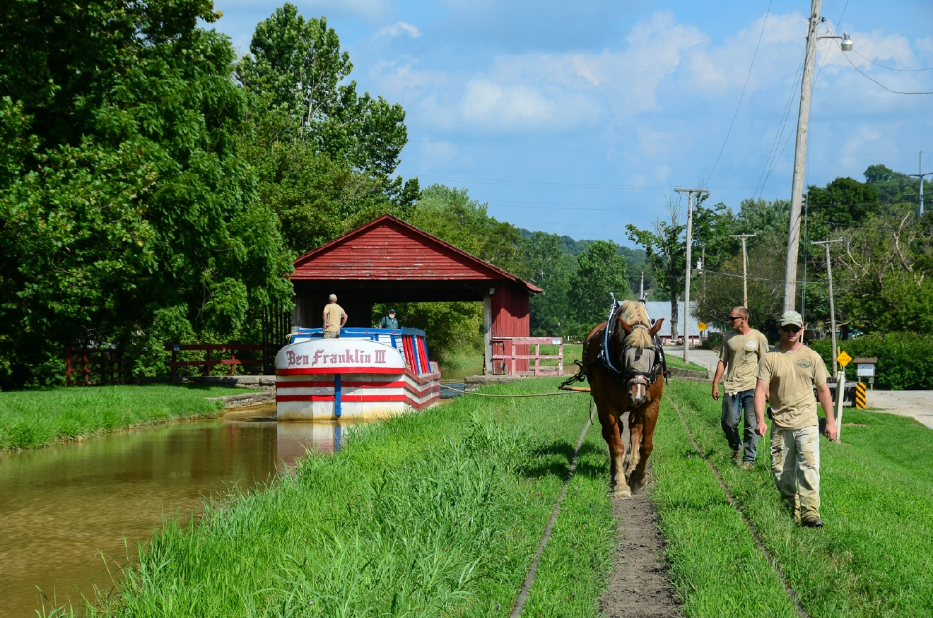 Horses power the Ben Franklin III, an old-fashioned canal boat. / Image: Sherry Lachelle Photography