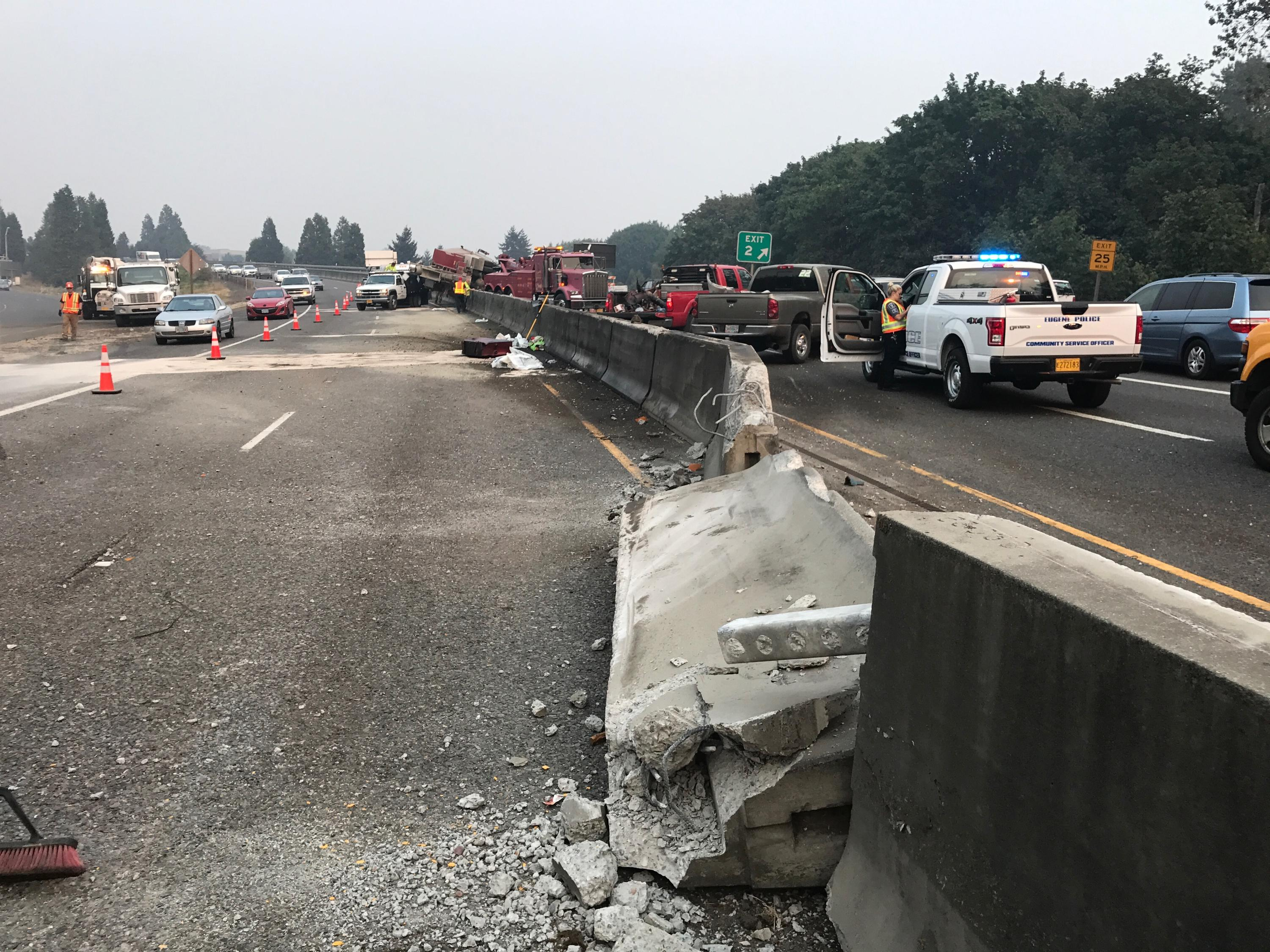 I-105 crash delayed traffic in Lane County, August 28, 2017. (ODOT photo)