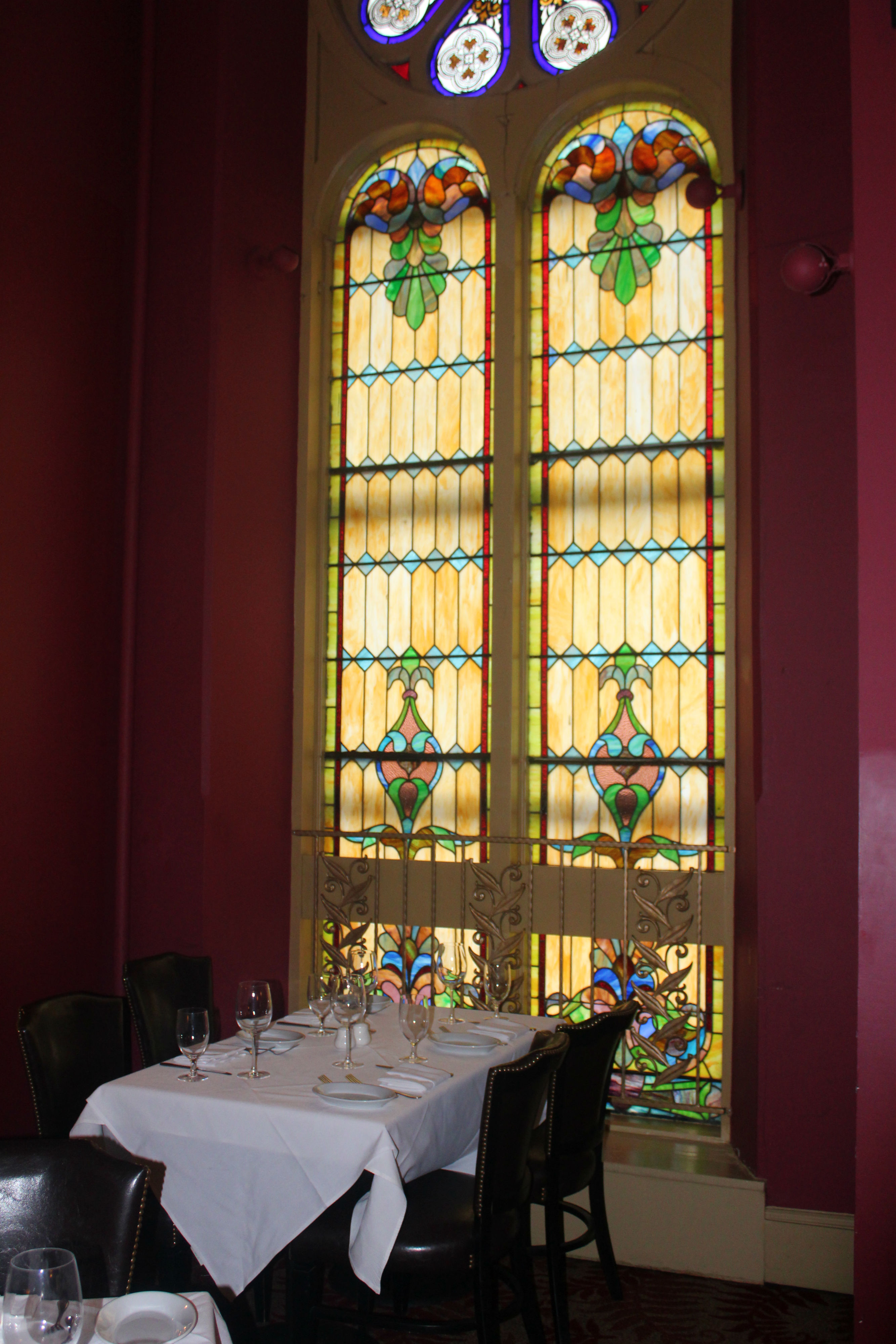 IMarsha Brown's is a NOLA-inspired restaurant located in a renovated church on Main Street. The architecture and original accents of the church remain, including the stained glass windows. Marsha Brown's is one of the most-well known destinations in New Hope.{ }(Image: Julie Gallagher)