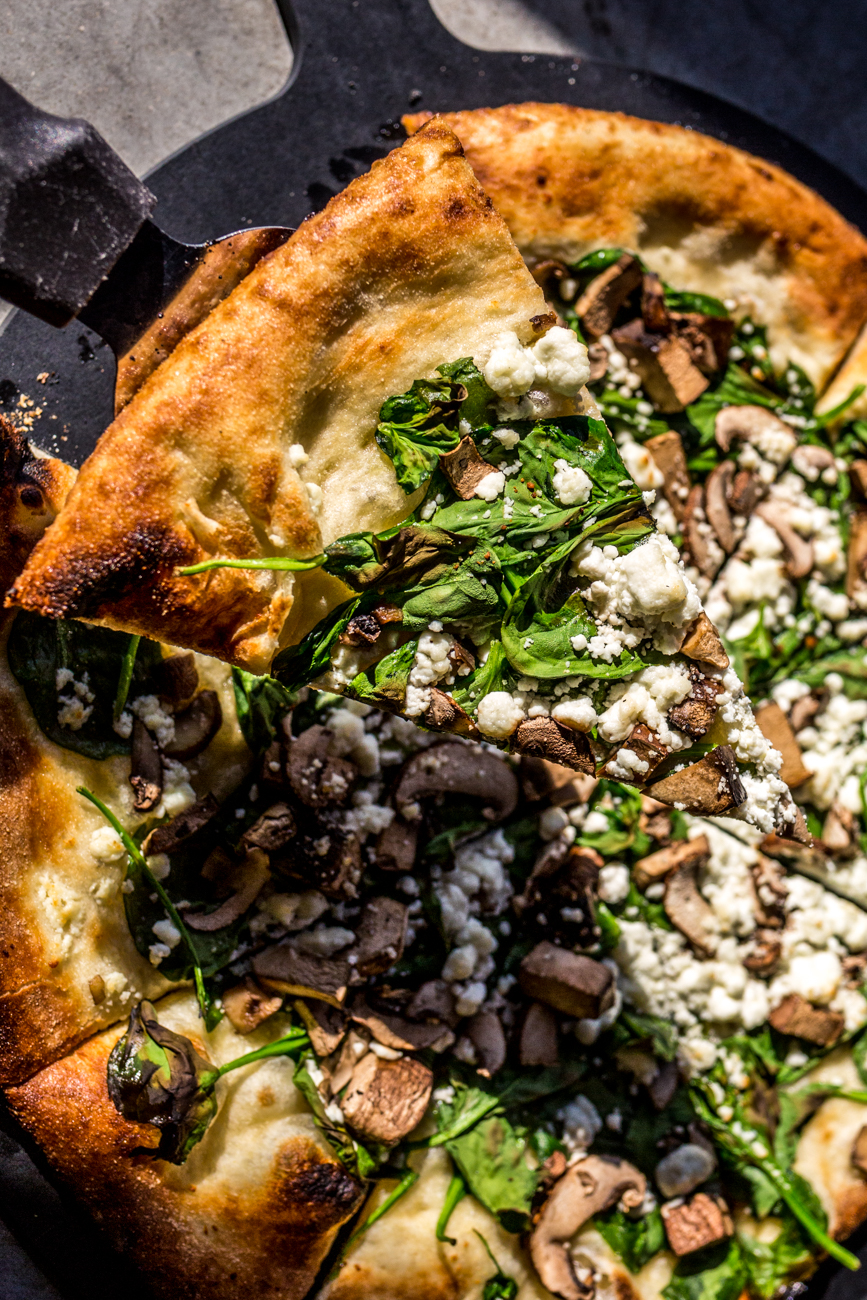 Bella Goat Pizza: garlic olive oil, crimini mushroom, portabella, spinach, and goat cheese / Image: Catherine Viox // Published: 11.10.19