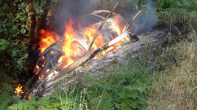 SUV hits tree, bursts into flames on Hwy 138; man, child escape injury