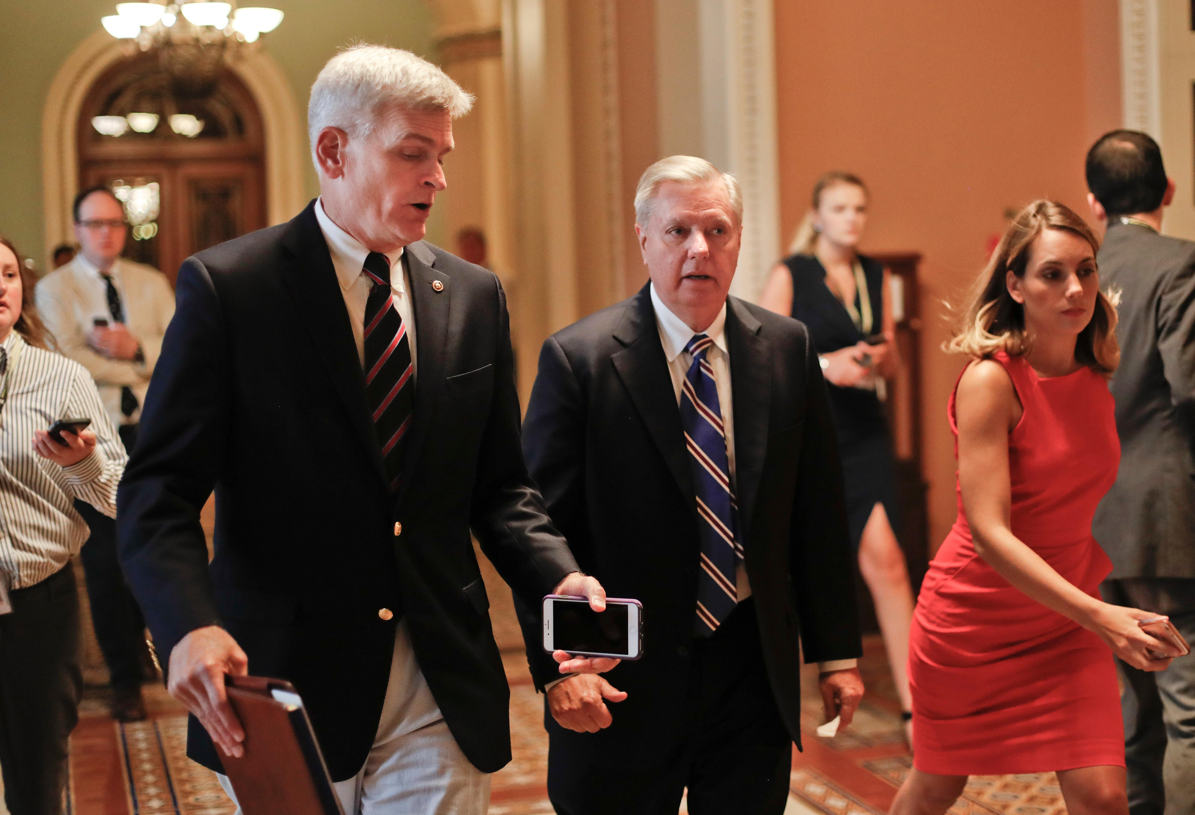 Sen. Bill Cassidy, R-La., left, and Sen. Lindsey Graham, R-S.C., right, talk while walking to a meeting on Capitol Hill in Washington Thursday, July 13, 2017.  (AP Photo/Pablo Martinez Monsivais)
