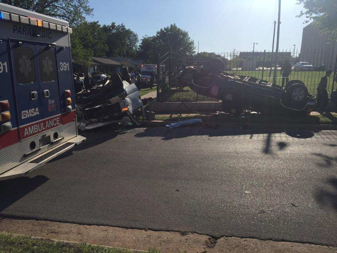 Several people were transported to a local hospital in critical condition after a church van rolled over May 12 in northeast Oklahoma City. (KOKH/Ben Latham)