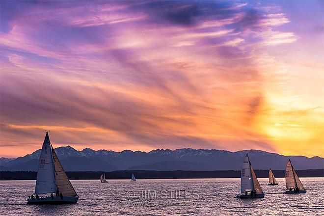 Sunset Sailing on Shilshole Bay Seattle, Washington (Photo: Jim Stiles)
