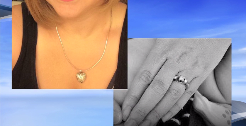 Amanda Shears is looking for her lost necklace and engagement ring.