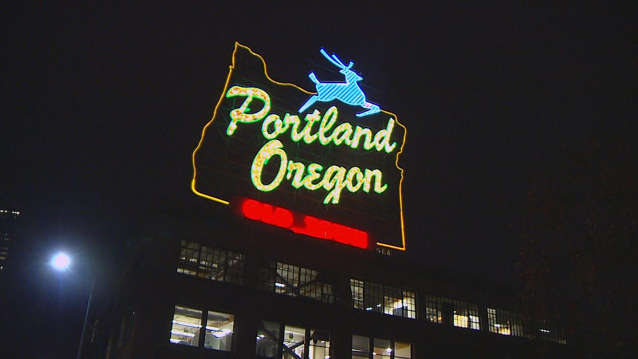 The city of Portland owns the physical sign and the trademarks for the white stag in certain categories. (KATU Photo)