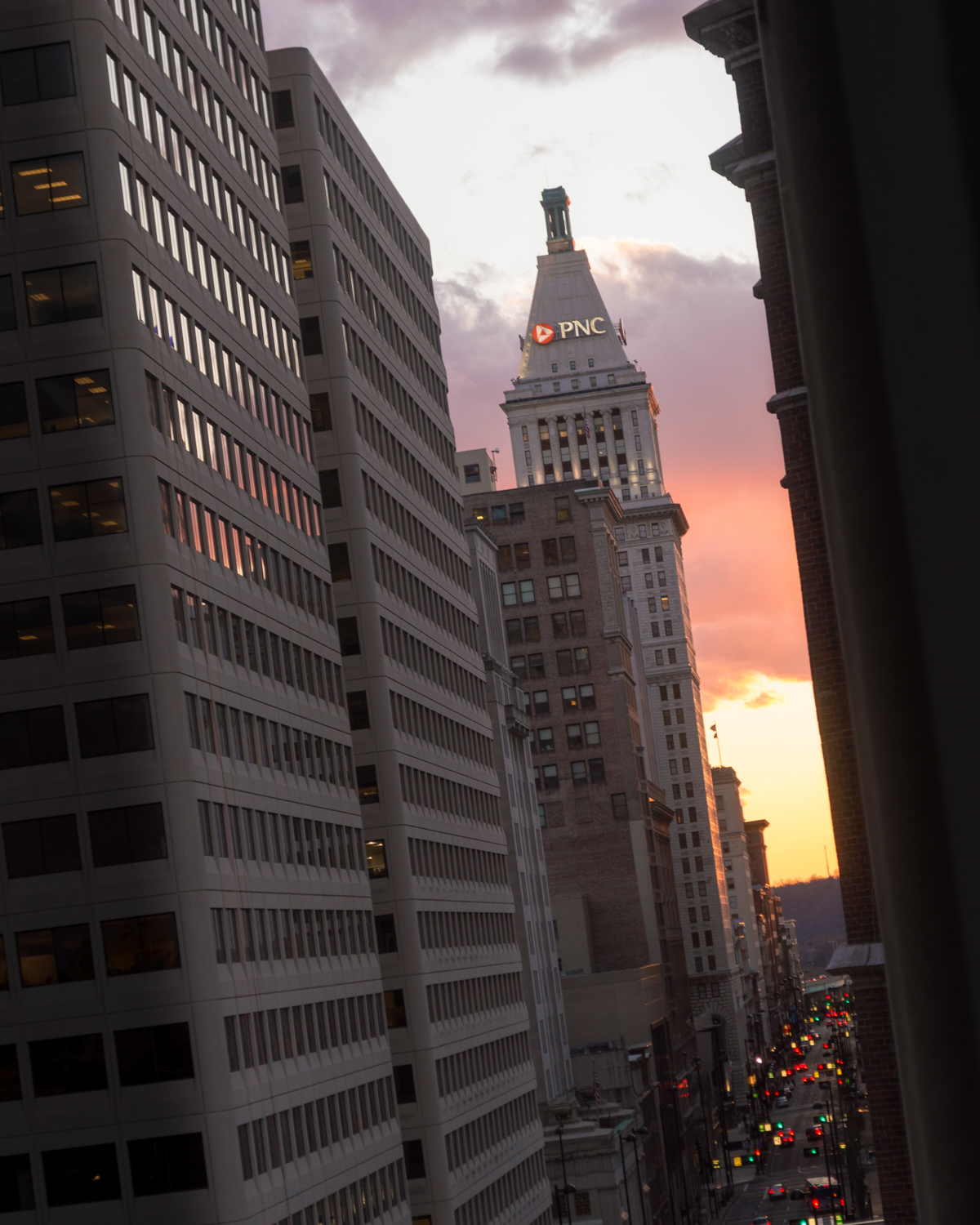 The city meets the sky on 4th Street downtown / Image: Phil Armstrong, Cincinnati Refined