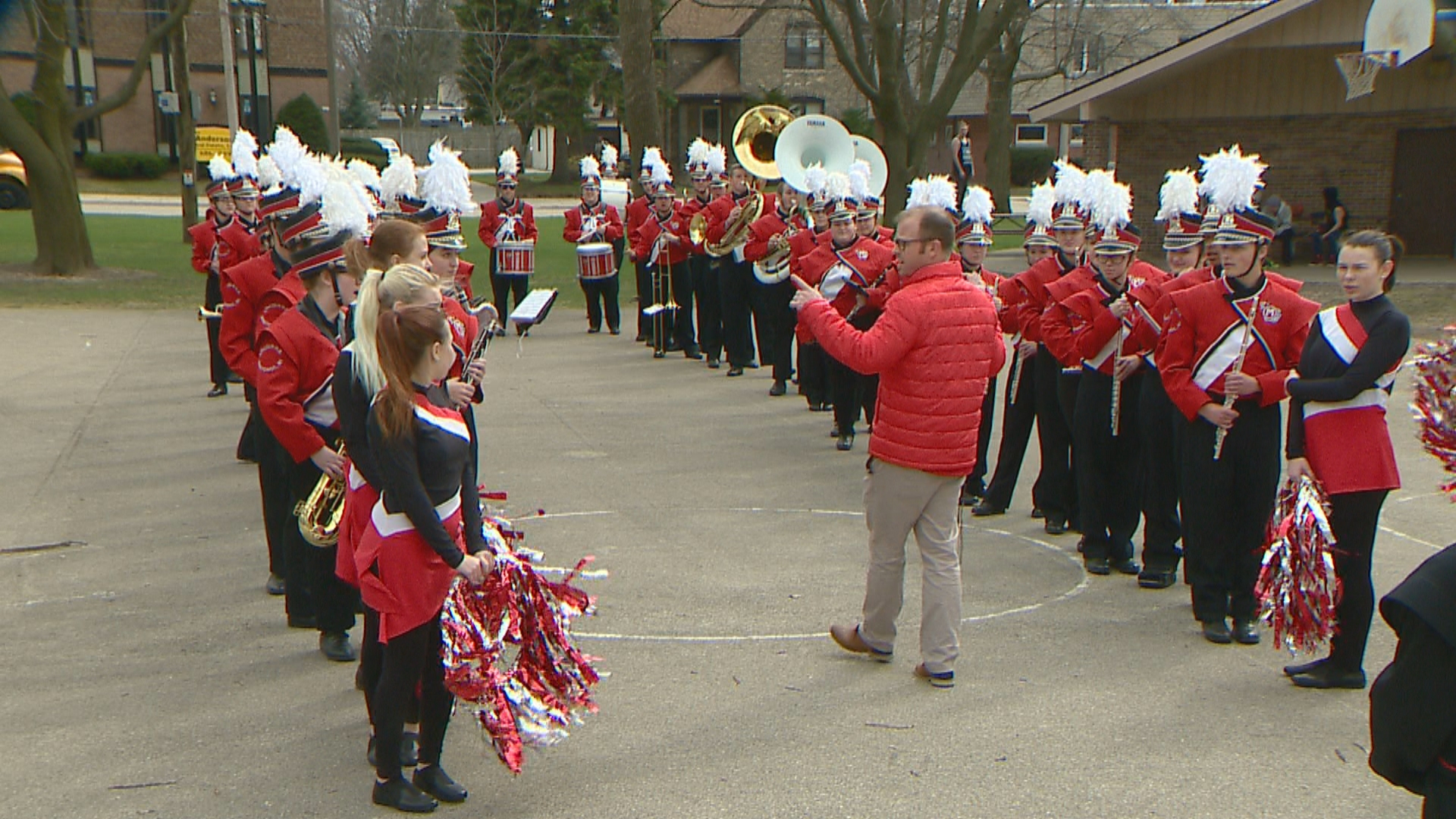 The Lincoln High School Marching Band in Manitowoc performed for Chalice Rosinsky, who is in the advanced stages of Huntington's Disease, at Washington Park for her birthday, April 18, 2017. (WLUK)