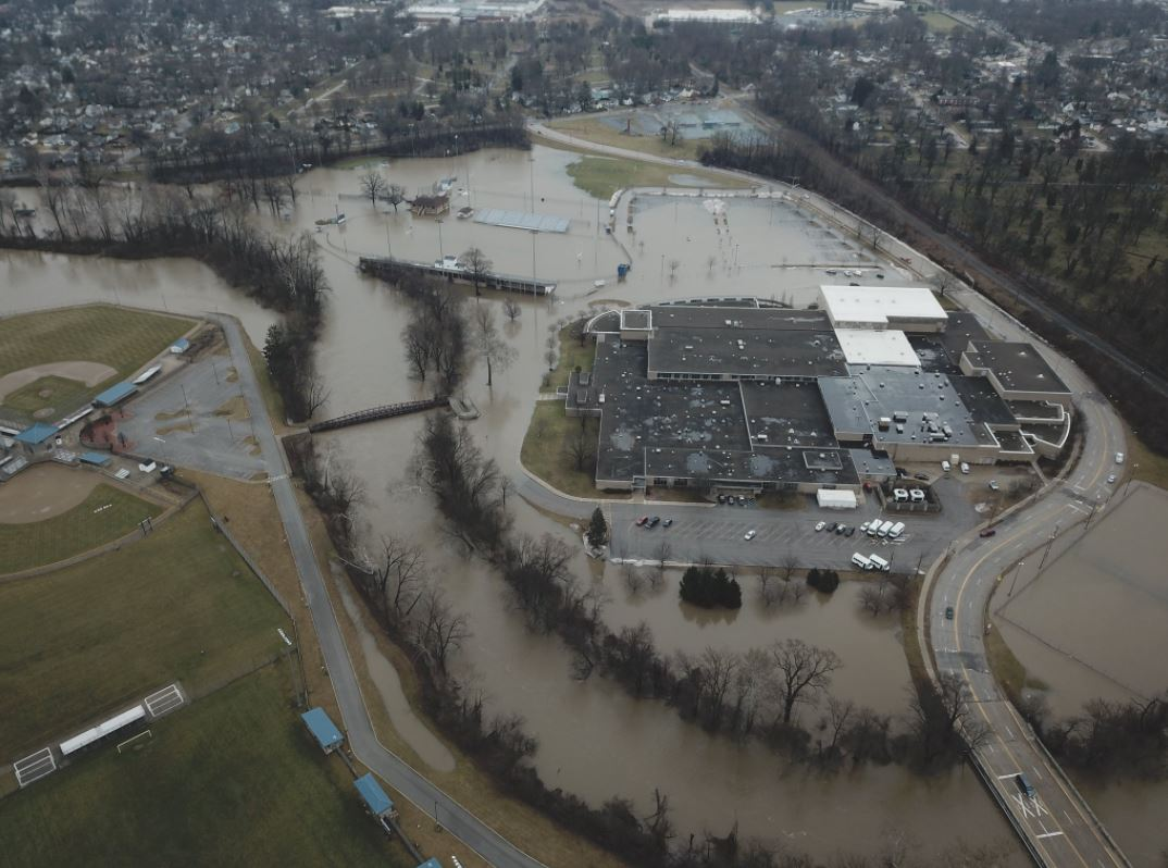 Drone photos taken yesterday by J. Stahl show much of Elkhart Central High School's grounds underwater.