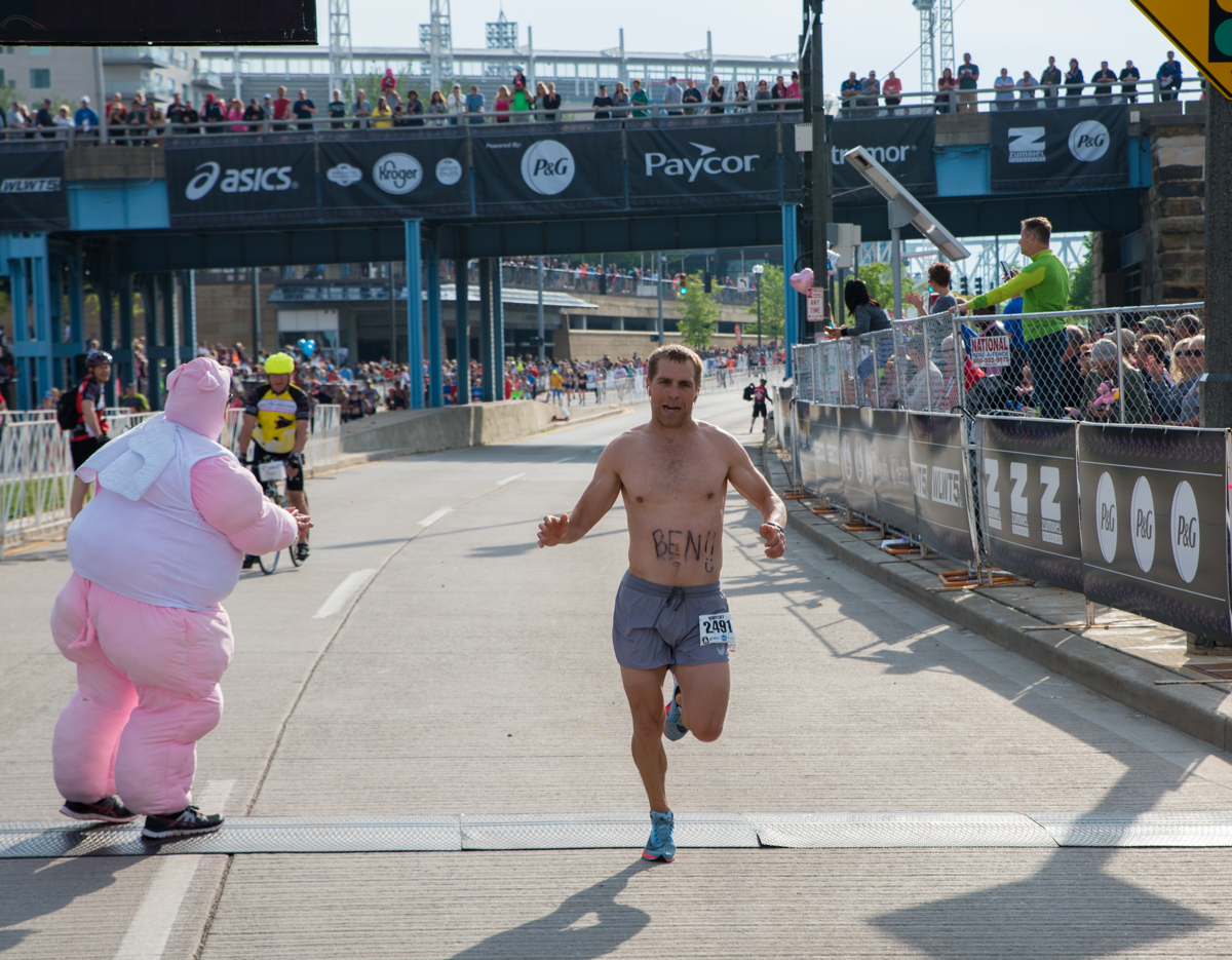 "The 20th Flying Pig full and half marathons were held on Sunday, May 6. Runners began at Paul Brown Stadium and snaked their way through NKY and Cincinnati before finally ending at the ""Finish Swine"" located on Mehring Way on the opposite side of the stadium. / Image: Sherry Lachelle Photography // Published: 5.7.17<br><p></p>"
