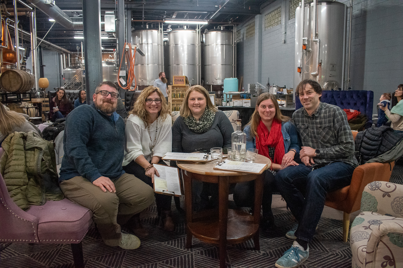 Rob & Stephanie Eggert, Maryanne White, Maren Carpenter Fearing, and Chris Fearing celebrate a birthday at Karrikin's One Year Revelry. / Image: Matt Groves // Published: 12.8.19