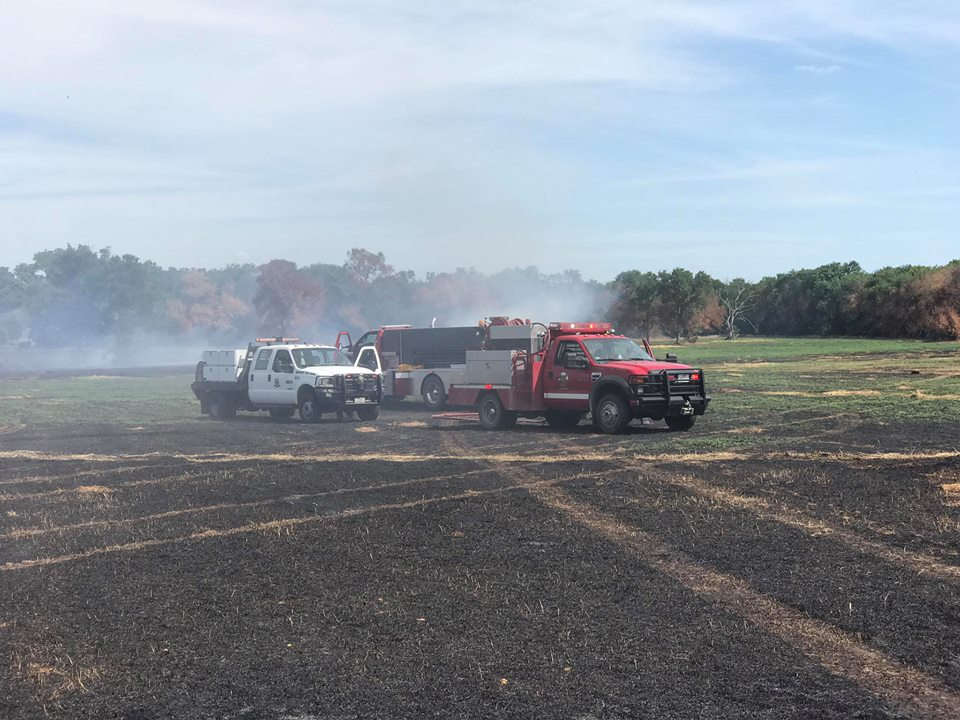 A wildfire broke out in Caldwell County, Texas, Saturday, June 17, 2017. (Caldwell County Office of Emergency Management)