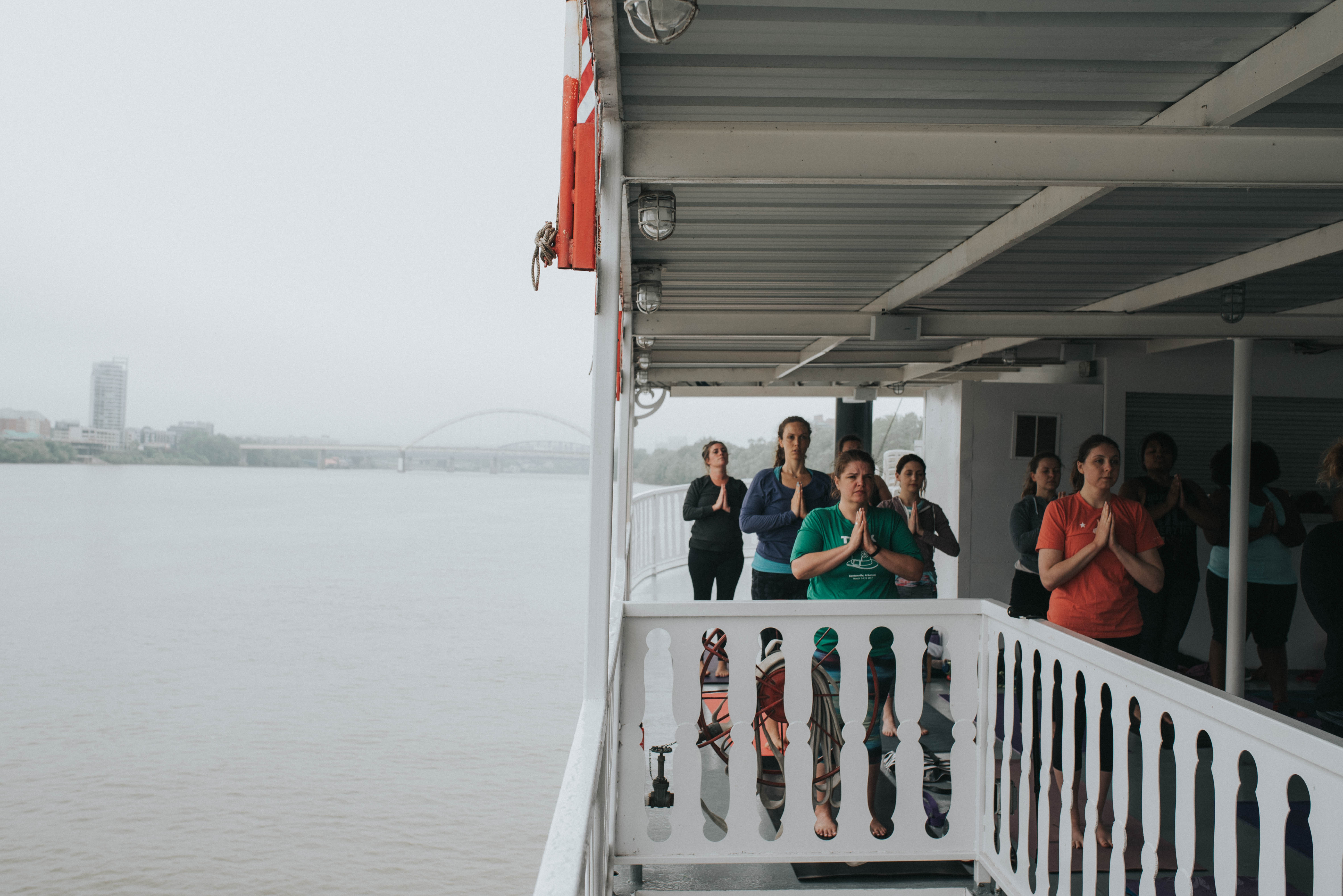 Sunrise Riverboat Yoga is an hour long yoga class guided by instructor Trisha Durham and held on one of B&B Riverboat's vessels. The class is meant to inspire yogis to be like water while on the water. Head to www.trisha.yoga to see a list of upcoming events. / Image: Brianna Long // Published: 5.29.17