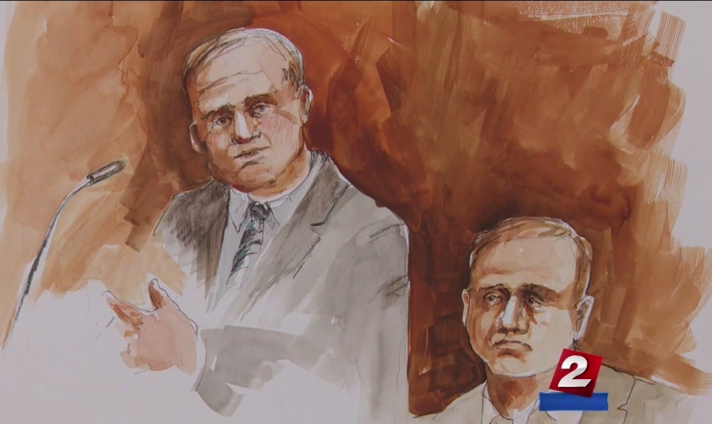 Ammon Bundy and his lawyer in court on Tuesday, Sept. 13 (Sketch by Deborah Marble)