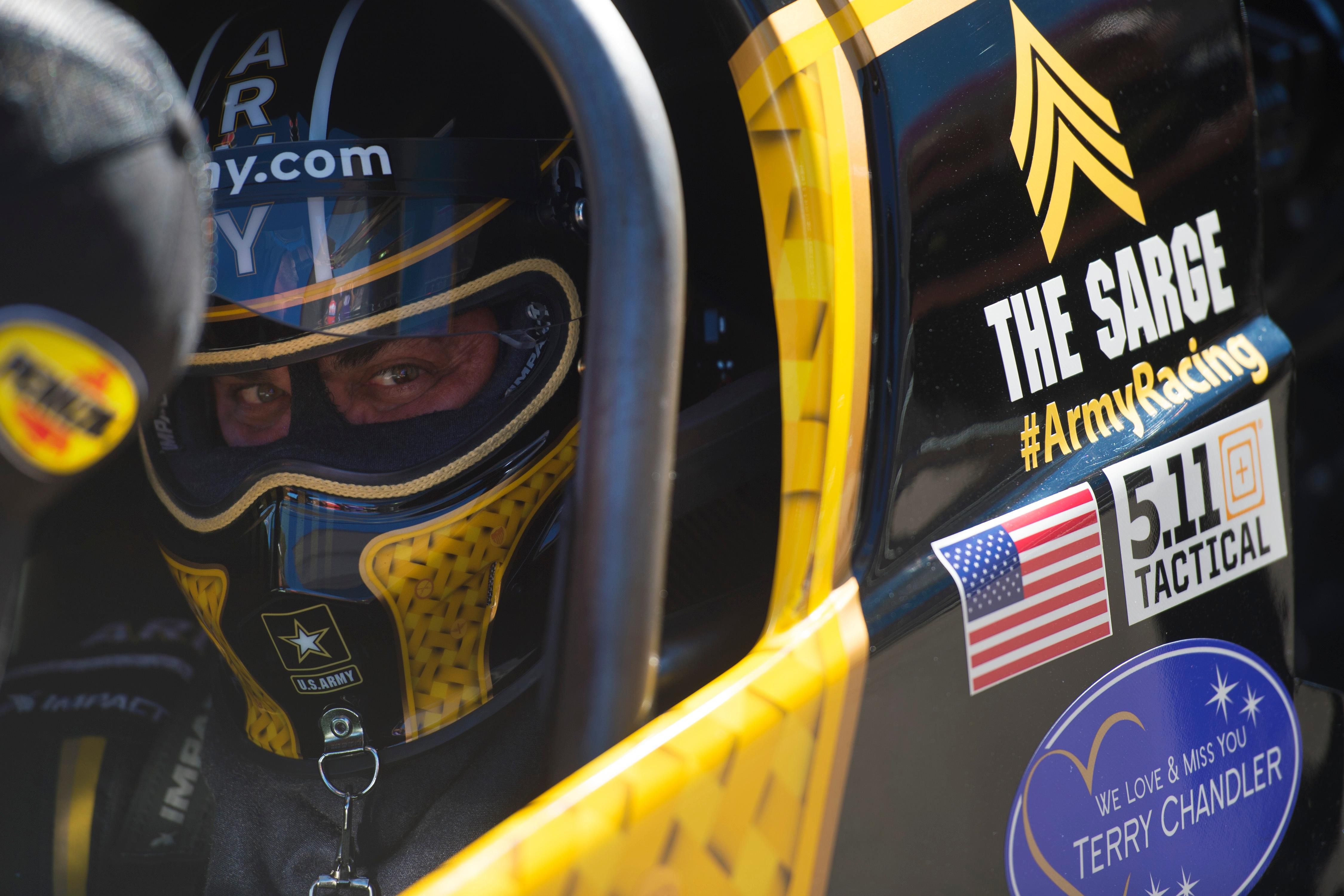 Tony Schumacher sits in the staging lane during the NHRA Toyota Nationals Sunday, October 29, 2017, at The Strip at the Las Vegas Motor Speedway. CREDIT: Sam Morris/Las Vegas News Bureau