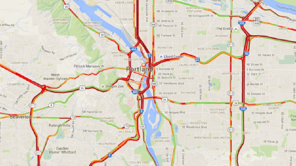 Reports of oil spill on I405 and Highway 30 traffic at standstill