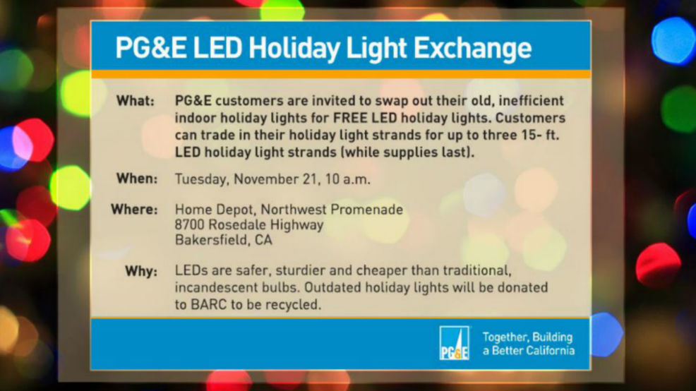 2nd annual pge holiday light exchange to be held this week