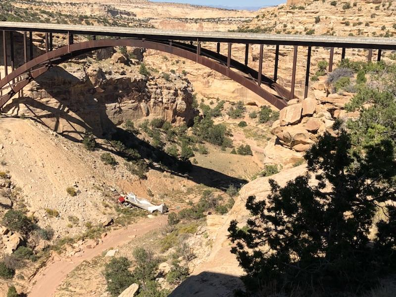 A semi truck driver was killed after he fell 200 feet into Eagle Canyon on Interstate 70 Saturday night. (Photo courtesy of Utah Highway Patrol)