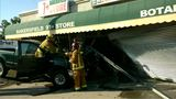 Pickup slams into front of Bakersfield businesses