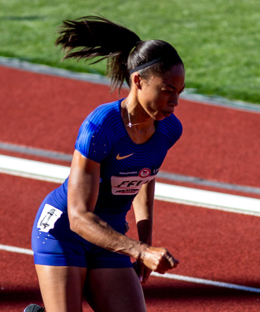 Nike�s Allyson Felix rounds the first bend in heat 4 of the Women�s 400m dash. She finished with a time of 51.96 and currently sits in 9th. Day one of the U.S. Olympic Trials began on Friday at Hayward Field in Eugene, Ore. And will continue through July 10. (Photo by Amanda Butt)