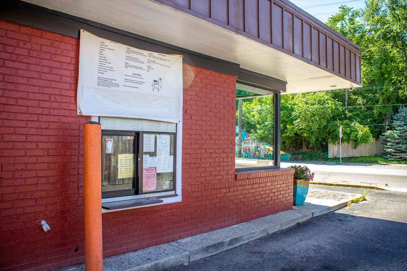 With limited seating in the local café, they make it convenient to pick up your coffee and breakfast from their drive-thru window on the side of the building. / Image: Katie Robinson, Cincinnati Refined // Published: 7.8.19