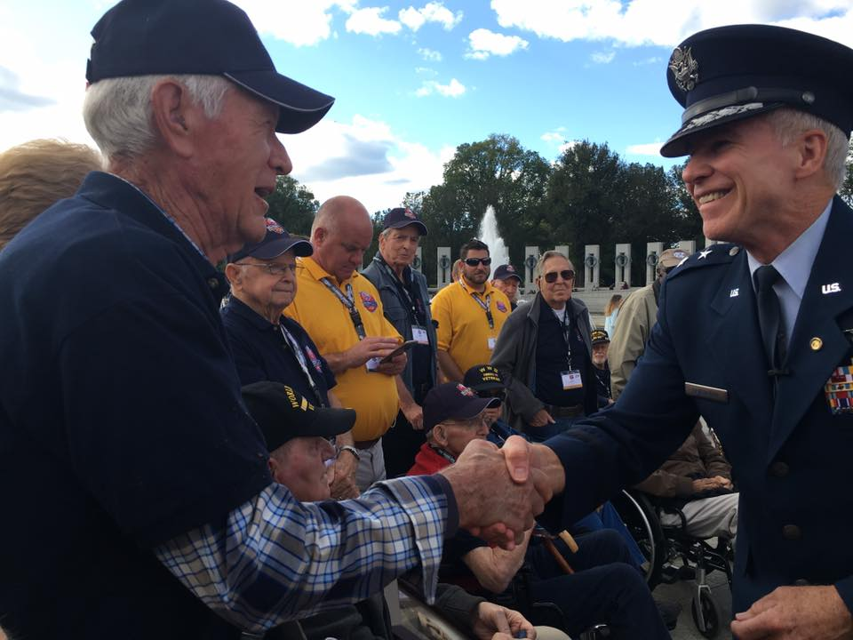 The Blue Ridge Honor Flight group visits the WWII Memorial to conclude their Washington, D.C. trip. All the veterans were given a special token of appreciation for their service. Photo: WLOS staff Photo: WLOS staff