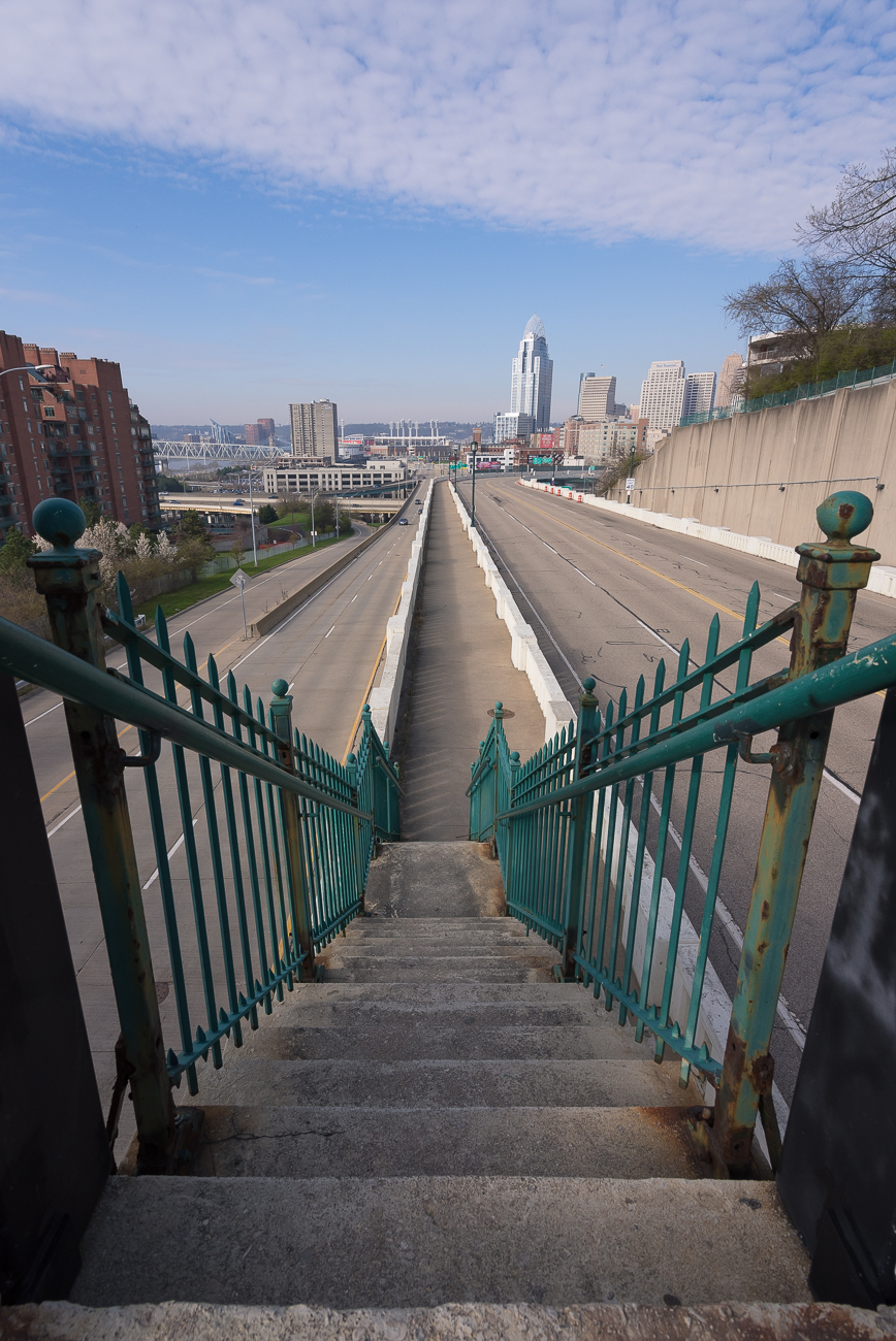 The stairs that lead down onto Columbia Parkway / Image: Phil Armstrong, Cincinnati Refined // Published: 4.13.18