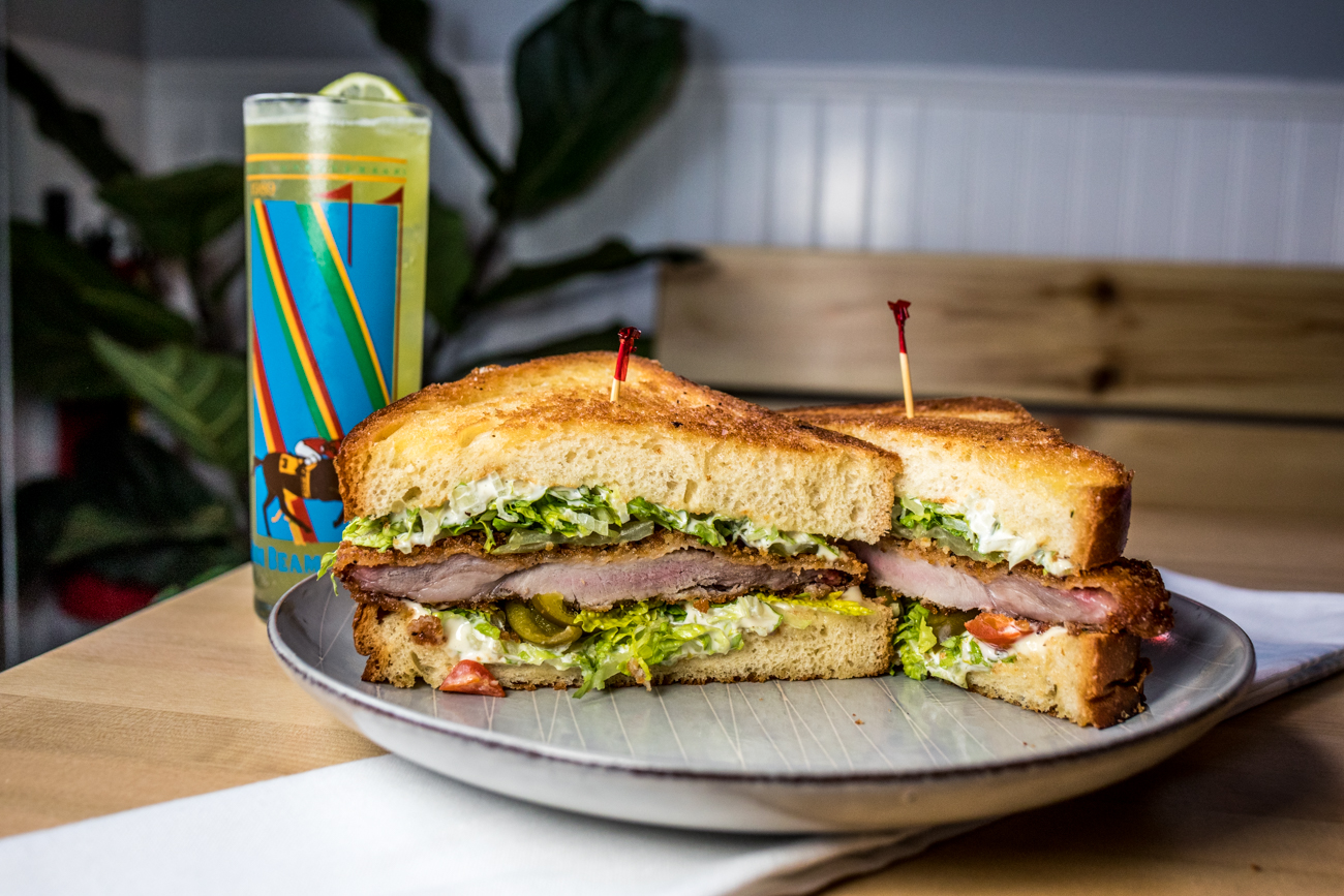 Fried Pork Chop Sandwich: brioche toast, lemon mayo, shrettuce, and pickled cherry peppers paired with the Celery Man / Image: Catherine Viox{ }// Published: 7.3.20
