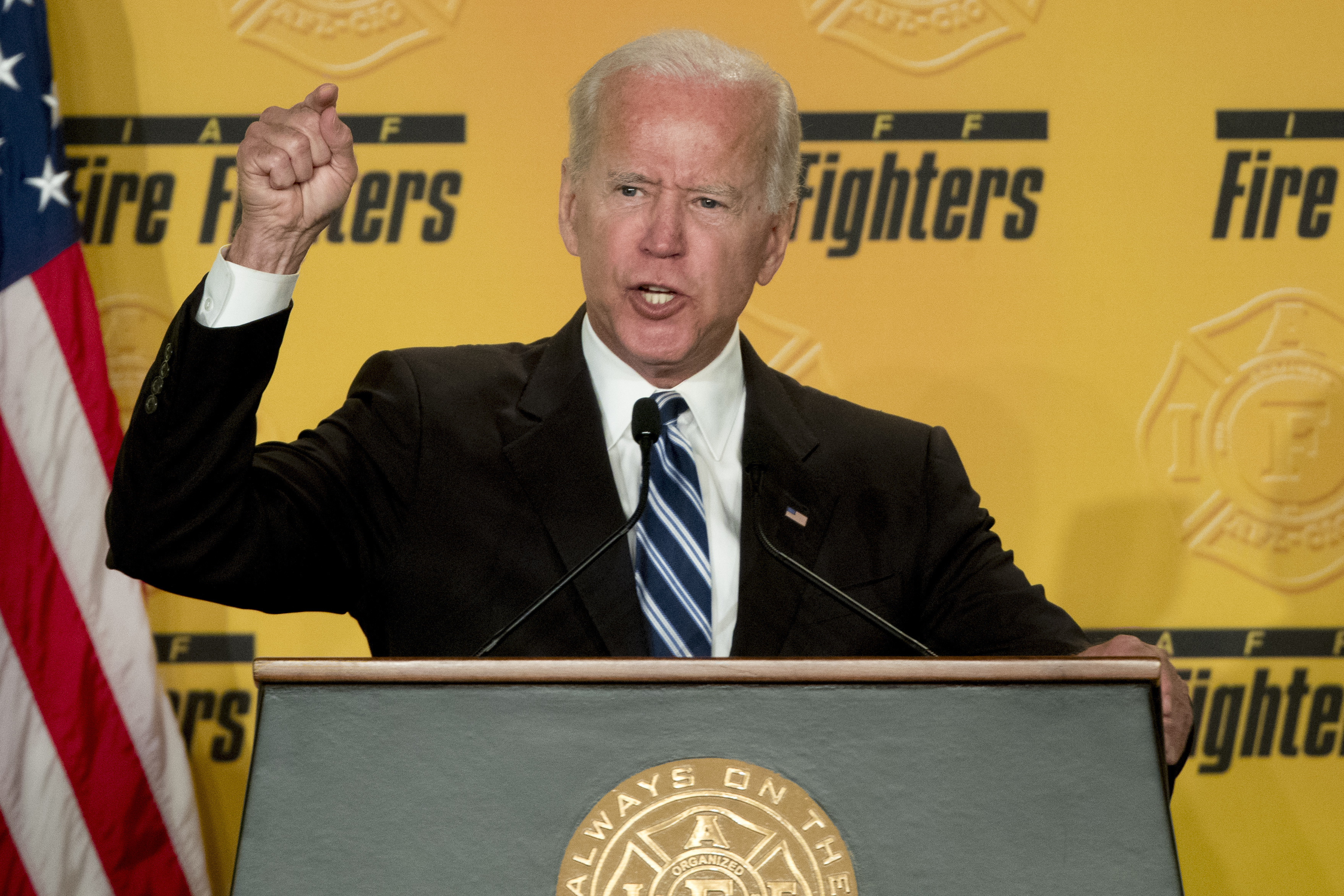 FILE - In this March 12, 2019 photo, former Vice President Joe Biden speaks to the International Association of Firefighters at the Hyatt Regency on Capitol Hill in Washington. ormer President Barack Obama's administration. (AP Photo/Andrew Harnik)